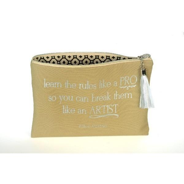 Bags - Pablo Picasso Quote Canvas Cosmetic Bag