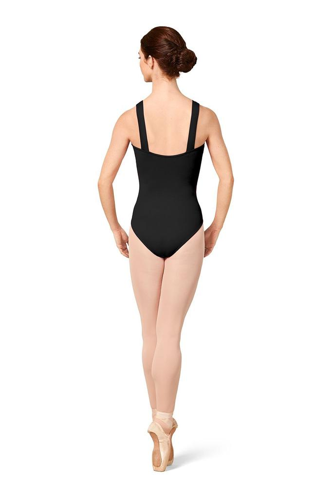 Gathered Mesh Bodice Wide Strap Leotard - Adult