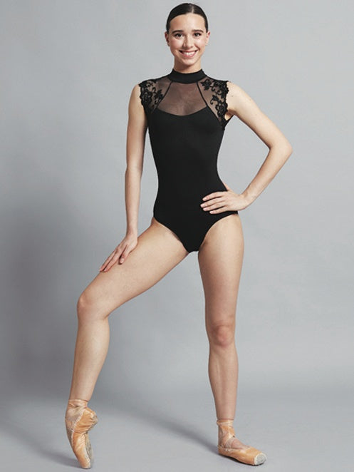 Bodysuits - Berenice Lace High Neck Leotard - Adult