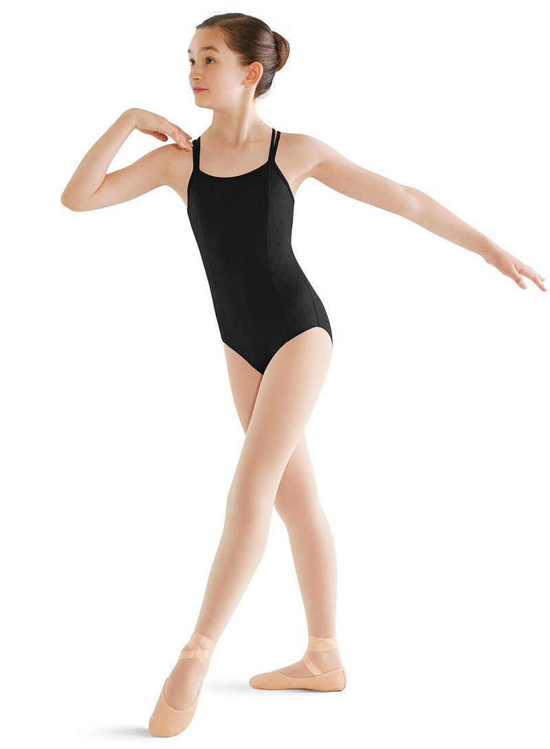Bodysuits - Cross Back Leotard With Embroidered Side Panels - Child