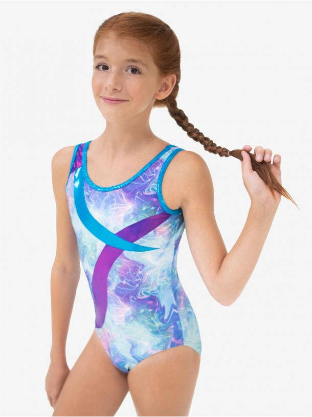 Swirl Front Tank Gymnastics Leotard - Child