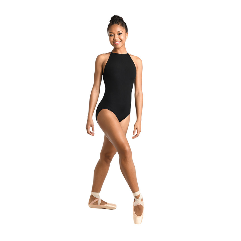 Ribbed Cutaway Halter Leotard - Adult