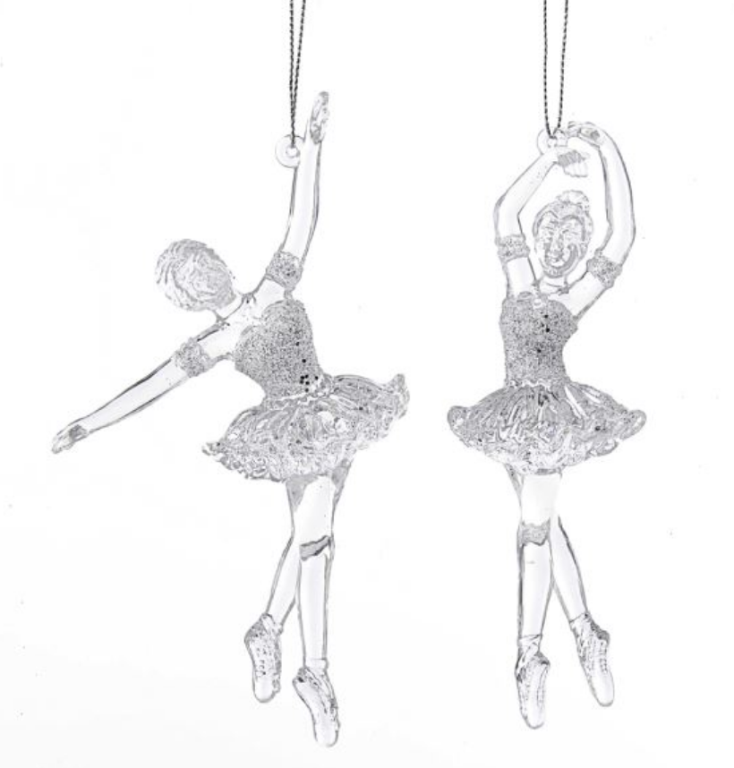 Clear Ballerina with Glitter Ornament
