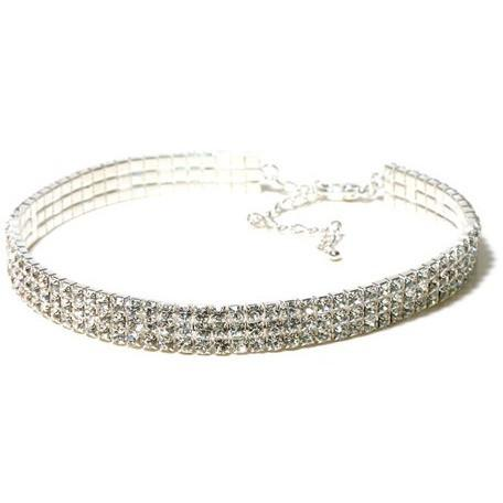 Jewelry - 3 Row Choker - Clear - Adult