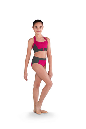 Two Tone Zip Front Bra Top - Child
