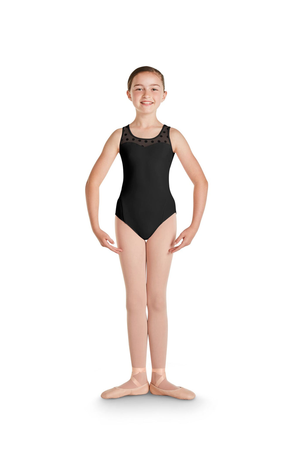 Polka Dot Mesh Neckline Tank Leotard - Child