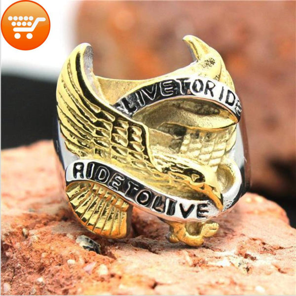 Live To Ride Biker Ring Gold