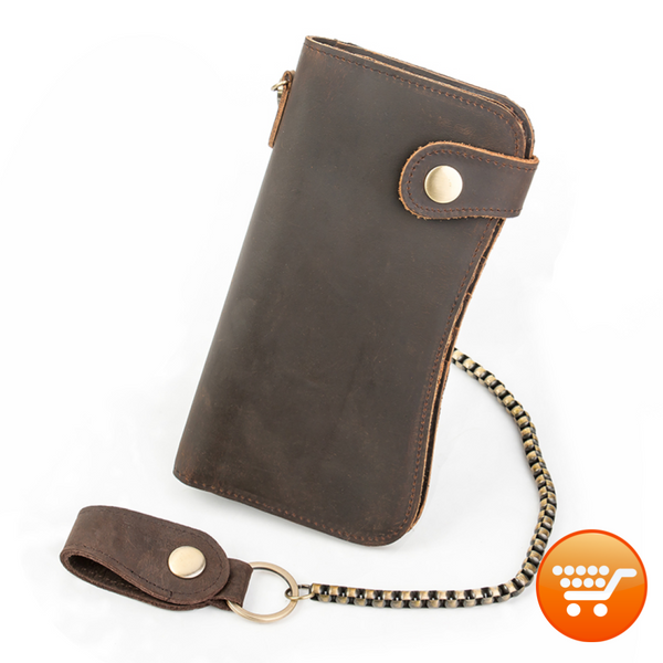 Genuine Leather Men's Long Wallet With Chain - Distressed Brown