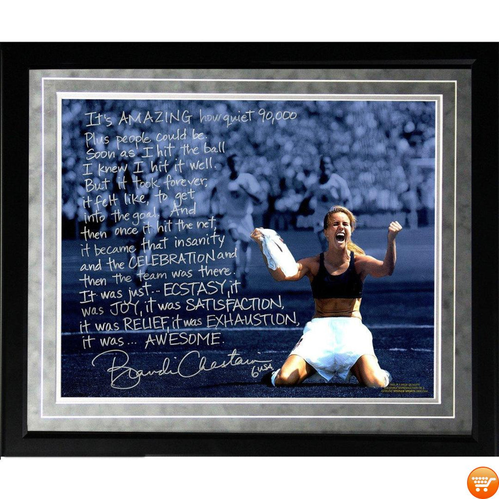 Brandi Chastain 16x20 World Cup Game Winning Penalty Kick Framed Metallic Story Photo - Bargain Love
