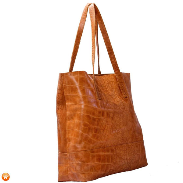 Brown Handcrafted Leather Tote - Bargain Love