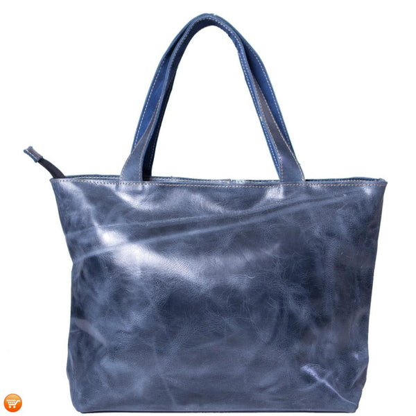 Dark Blue Handcrafted Leather Tote - Bargain Love