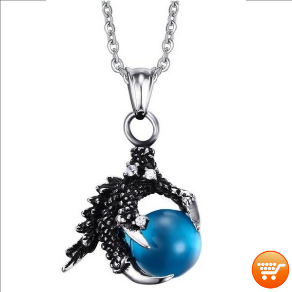 Dragon Claw Necklace with Black, Blue, or Red Agate Bead - Bargain Love