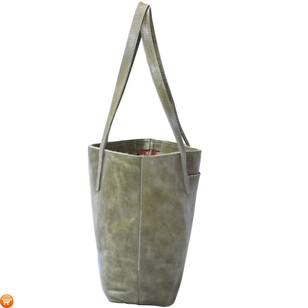 Green Handcrafted Leather Tote - Bargain Love