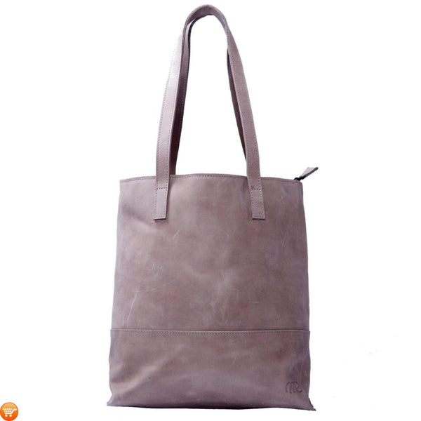 Grey Handcrafted Leather Tote - Bargain Love