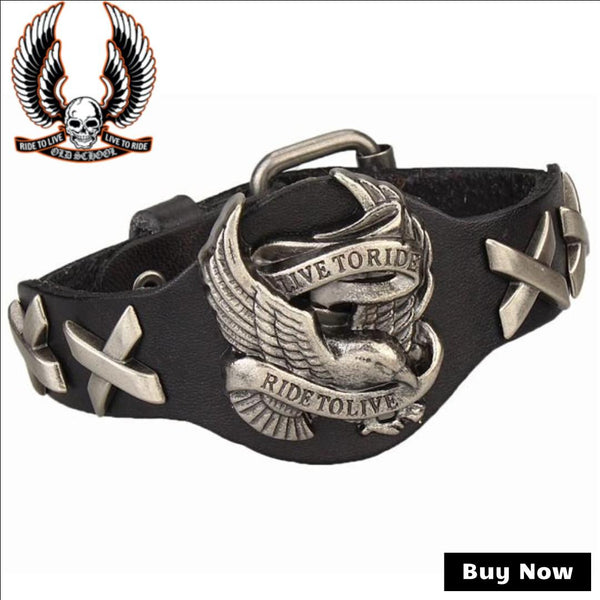 """Live To Ride, Ride To Live"" - Biker Lifestyle Genuine Leather Wrap Bracelet - Bargain Love"