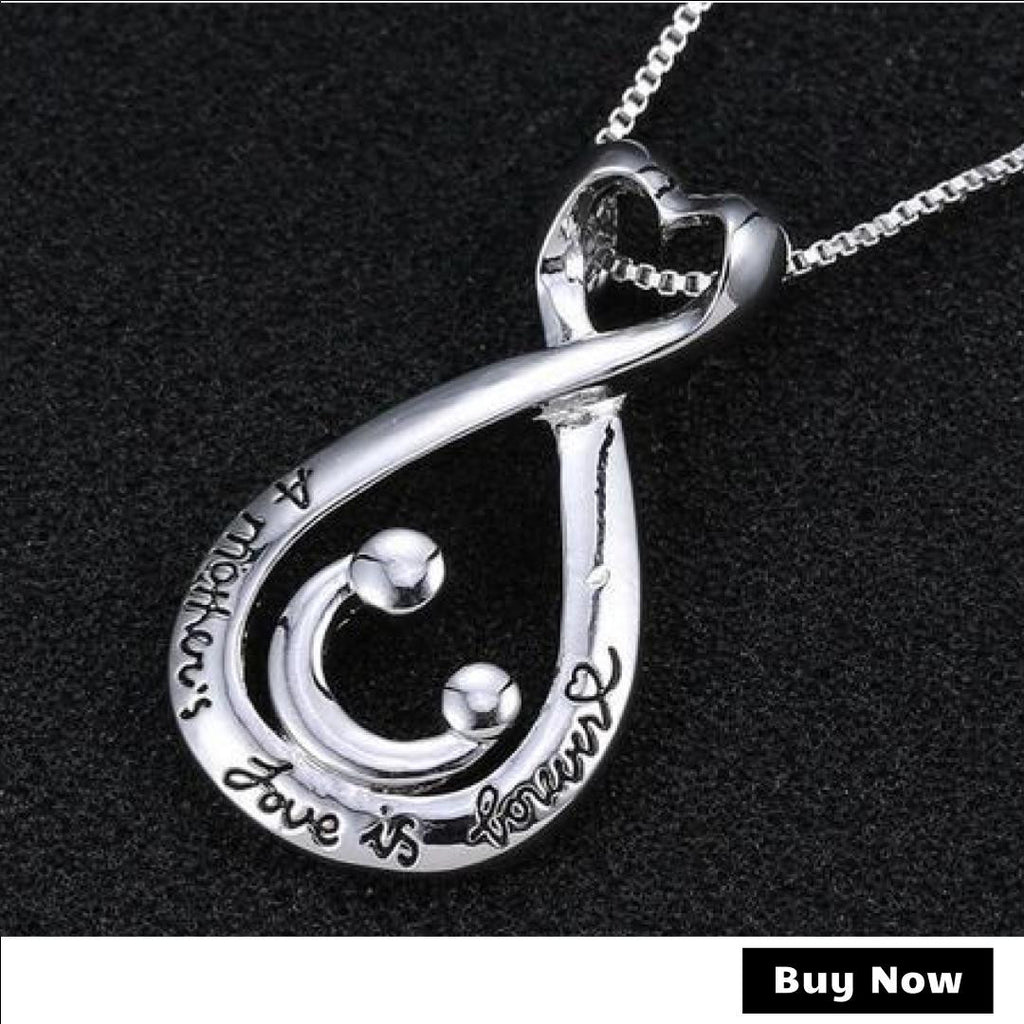 """A Mother's Love Is Forever"" Silver Plated Necklace - Bargain Love"