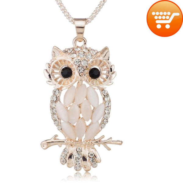 Elegant and Sexy Sparkling Owl Crystal Necklace - Bargain Love