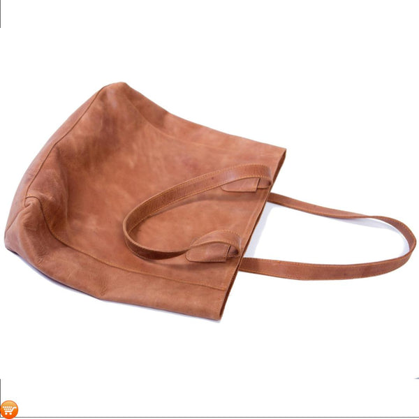 Simple Brown Leather Tote - Bargain Love