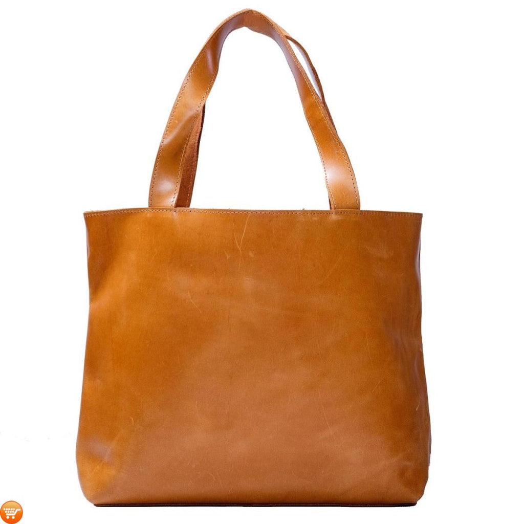 Tan Handcrafted Leather Tote - Bargain Love