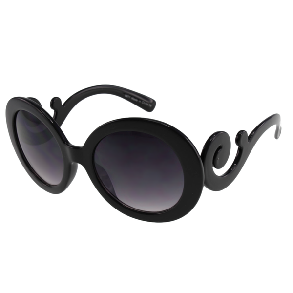 Oversized Round Frames with Curli-que Temple Women's Fashion Sunglasses - Bargain Love