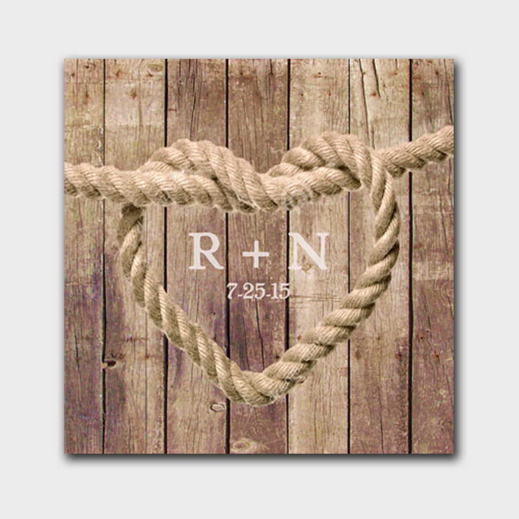 Personalized Knot Canvas Sign - Brown Wood Background Design - Bargain Love