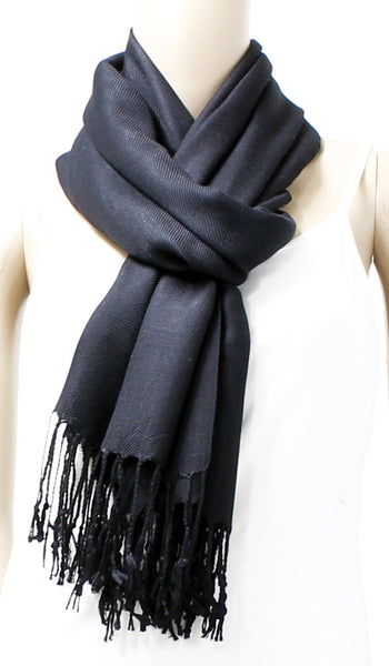 Solid Color Elegant Pashmina Shawl Scarf with Tassels - Bargain Love