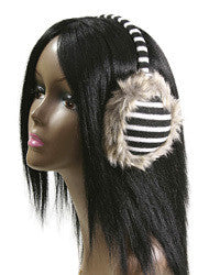 Black and White Striped Earmuffs - Bargain Love