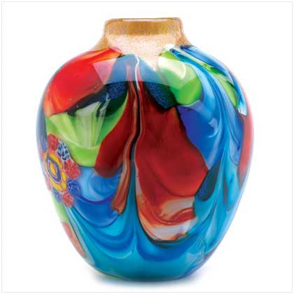 Floral Fantasia Art Glass Vase - Bargain Love