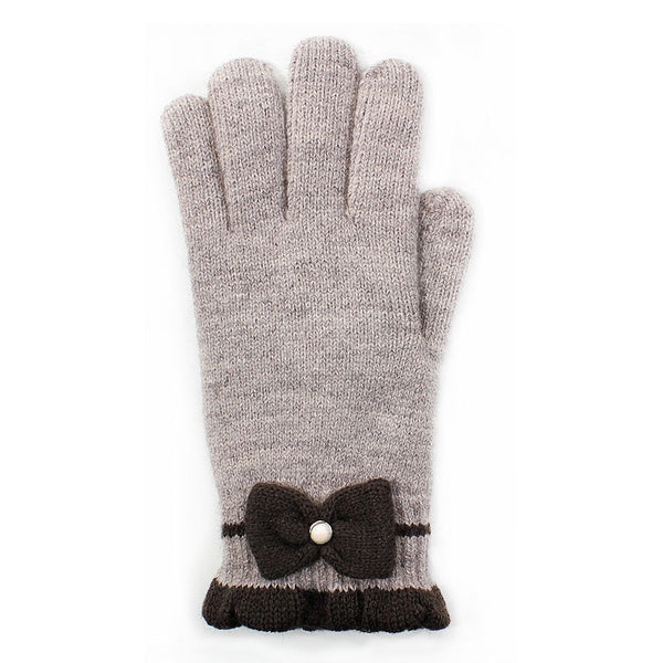 Double Layer Plush Lined Gloves with Pearl and Bow - Bargain Love