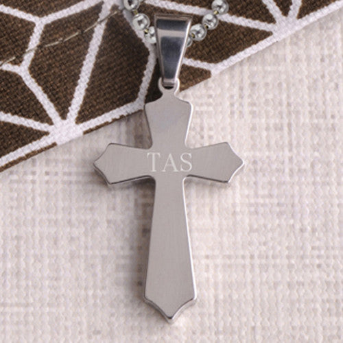 Classic Personally Engraved Silver Cross Necklace - Bargain Love