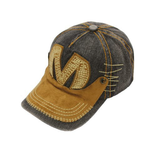 Denim Baseball Cap with Suede Details - Bargain Love