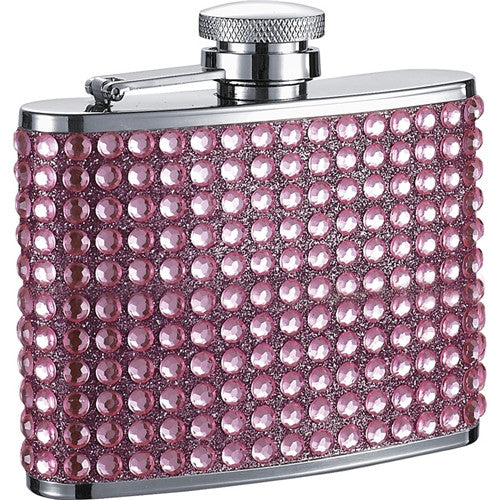 Kylie 4oz Pink Bling Stainless Steel Hip Flask - Bargain Love
