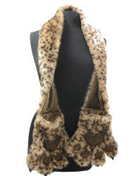 Cheetah Paw Furry Animal Scarf With Paw Pockets