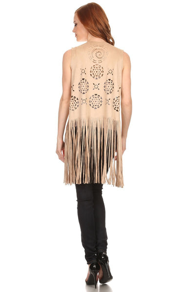 Ladies Boho Faux Suede Cutout Long Fringe Vest - Bargain Love