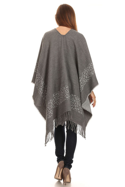 Women's Winter Animal Border Open Poncho Ruana with Fringe - Bargain Love