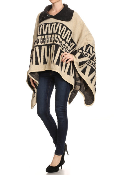 Heavy Wool-Feel Button Collar Pullover Winter Poncho