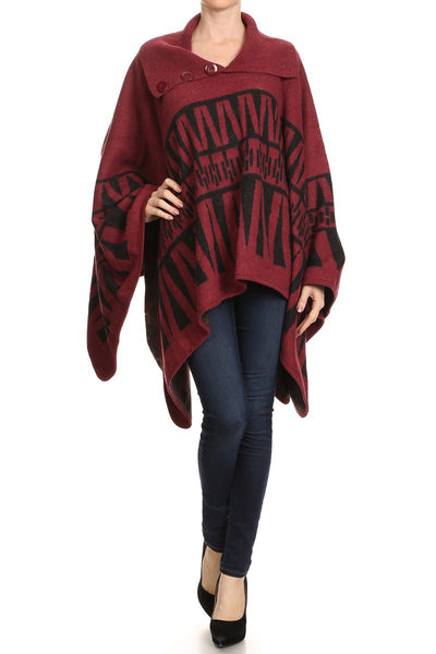 Heavy Wool-Feel Button Collar Pullover Winter Poncho - Bargain Love