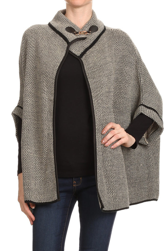 Tweed 3/4 Sleeve Batwing Poncho Cape with Metal Clasp - Bargain Love