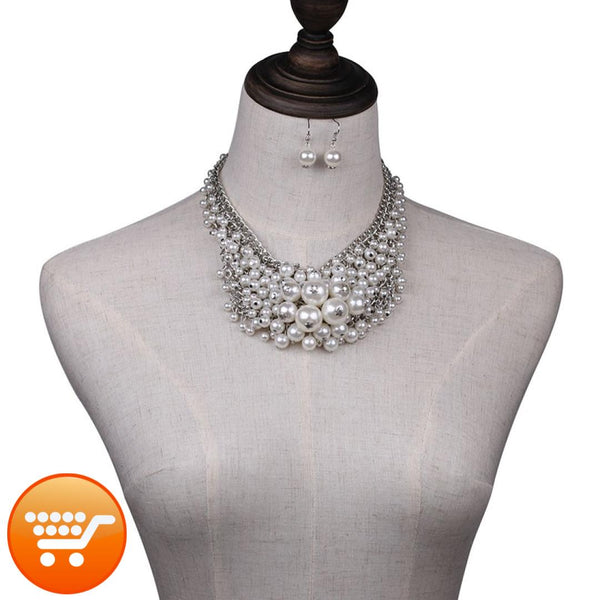Unique Simulated Pearl Bubble Necklace Plus FREE Earrings - Bargain Love