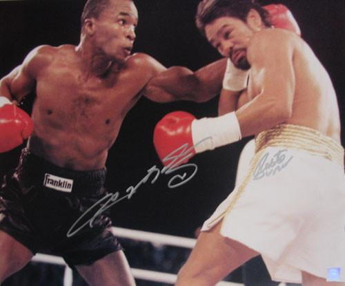 Sugar Ray Leonard Vs. Roberto Duran DUAL SIGNED 16X20 Photo - Bargain Love