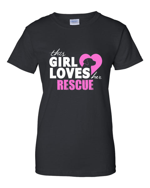 """This Girl Loves Her Rescue"" Ladies Short-Sleeve Fashion T-Shirt - Bargain Love"