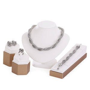 Trendy Mesh Necklace Set: Gold and Platinum-Plated Necklace, Earrings, Bracelet, and Ring - Bargain Love