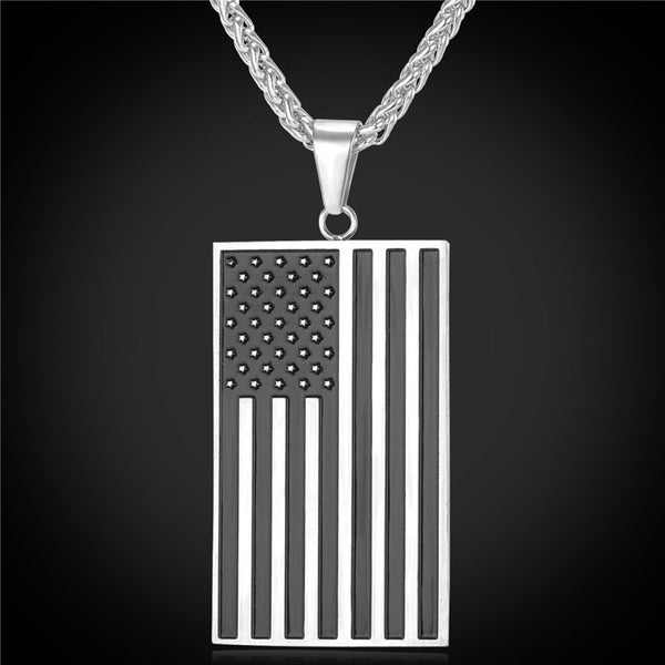 """Proud to be an American"" - American Flag Necklace"