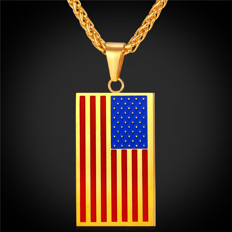 flag hiphop white bling pendant with products gold jewelry necklace american chain yellow or capital