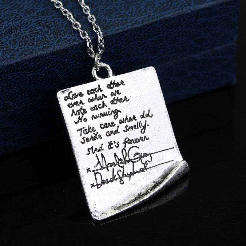 Beautiful Grey's Anatomy Post-It Wedding Necklace - Bargain Love