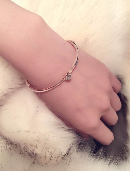 Delicate Rose Gold Plated Cubic Zirconia Bracelet - Bargain Love