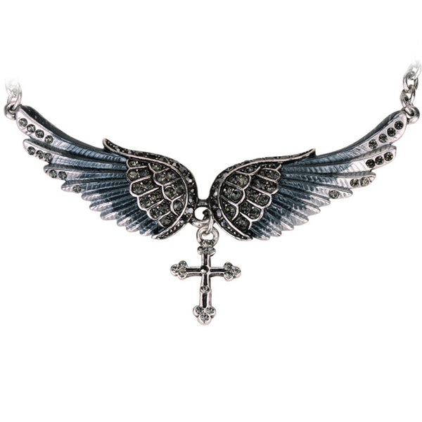 Ladies Angel Wing and Cross Biker Necklace