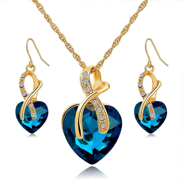 Gorgeous Gold Plated Crystal Heart Necklace and Earrings Set - Bargain Love
