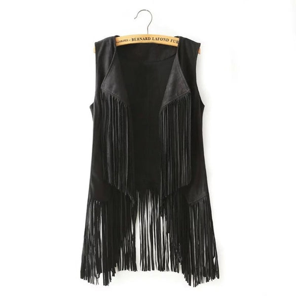 Ladies  Retro Boho Faux Suede Long Fringe Vest - Bargain Love