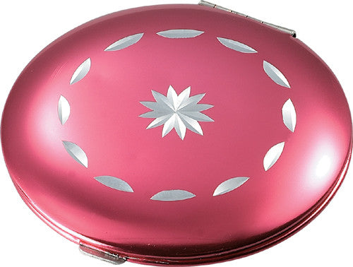 Pearl Metal Hot Pink Compact Mirror with Diamond Cut Design - Bargain Love